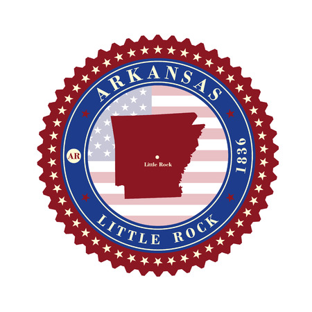 Label sticker cards of State Arkansas USA. Stylized badge with the name of the State, year of creation, the contour maps and the names abbreviations