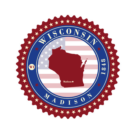 Label sticker cards of State Wisconsin USA. Stylized badge with the name of the State, year of creation, the contour maps and the names abbreviations. Illustration
