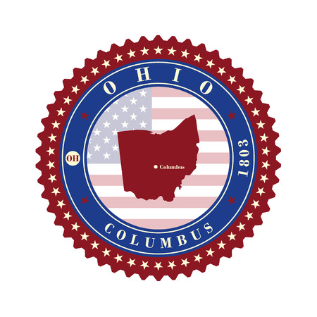 Label sticker cards of State Ohio USA. Stylized badge with the name of the State, year of creation, the contour maps and the names abbreviations.
