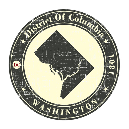 district of columbia: Vintage stamp with map of  District of Columbia. Stylized badge with the name of the State, year of creation, the contour maps and the names abbreviations . Vector illustration