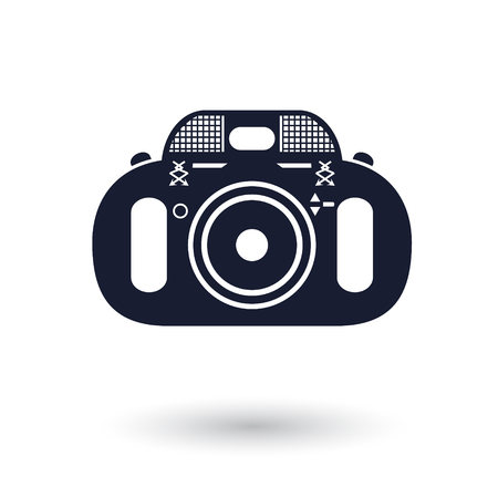 Black and white vector camera icon Illustration