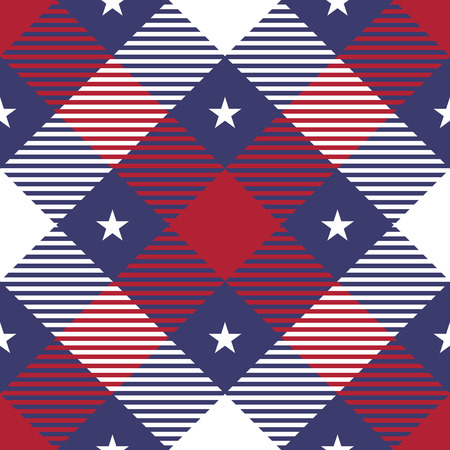 clan: Patriotic Tartan Seamless Patterns. USA flag inspired the background. Trendy illustration for wallpapers.