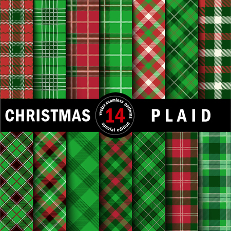 Set Christmas Tartan Seamless Patterns. Vector illustration. Фото со стока - 66224796