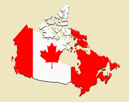 quebec: Canada map flag. Vector illustration