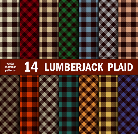 Set of Lumberjack Plaids Seamless Patterns in 14 Colours. Vector illustration