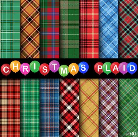 Set Christmas Tartan Seamless Patterns. Vector illustration.