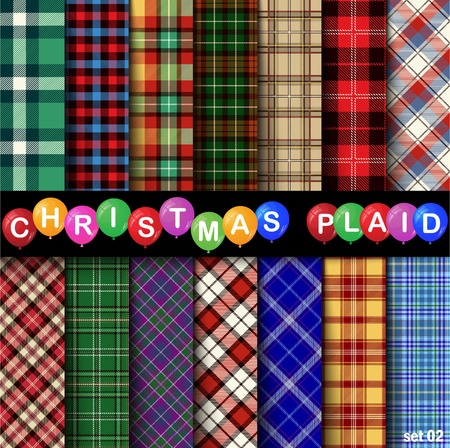 Set Christmas Tartan Seamless Patterns. Vector illustration.
