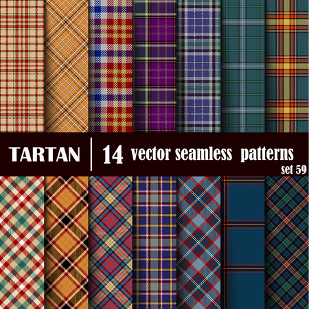 Set Tartan Seamless Pattern. Trendy Vector Illustration for Wallpapers. Seamless Tartan Tiles. Traditional Scottish Ornament. Plaid Inspired Background. Vectores