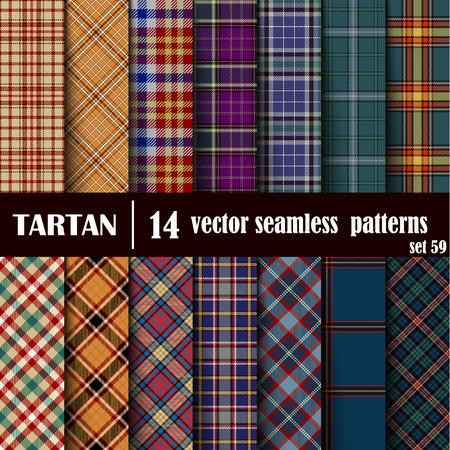 Set Tartan nahtlose Muster. Trendy Vector Illustration für Tapeten. Nahtlose Tartan Fliesen. Traditionelle schottische Verzierung. Plaid Inspired Hintergrund. Vektorgrafik