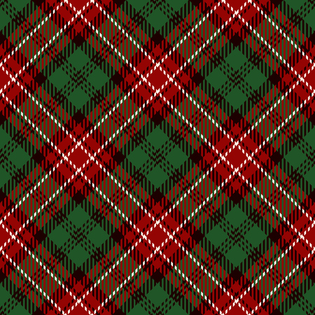 Tartan Seamless Pattern Background. Red, White, Black and Green Plaid, Tartan Flannel Shirt Patterns. Trendy Tiles Vector Illustration for Wallpapers.  イラスト・ベクター素材