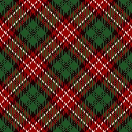 Tartan sans soudure de fond. Plaid rouge, blanc, noir et vert, modèles de chemise en flanelle tartan. Illustration vectorielle de carreaux à la mode pour les fonds d'écran.
