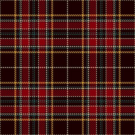 Fondo de patrón. Tela escocesa roja, negra, verde, dorada y blanca, patrones de franela de tartán. Ilustración de moda mosaico de vectores para fondos de pantalla. Ilustración de vector