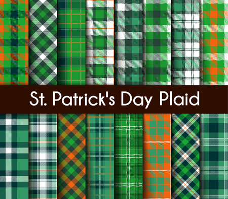 16 Seamless Patterns Green St. Patricks Day Plaid. Tartan Flannel Shirt Patterns. Trendy Tiles Vector Illustration for Wallpapers.