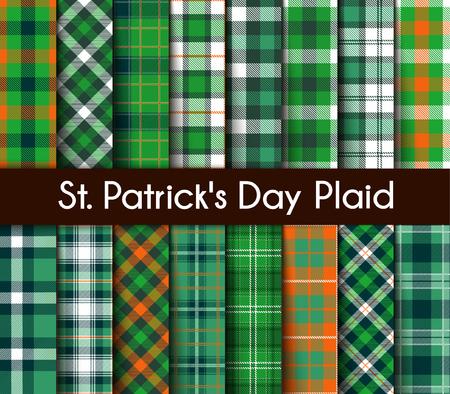 16 Seamless Patterns Green St. Patricks Day Plaid. Tartan Flannel Shirt Patterns. Trendy Tiles Vector Illustration for Wallpapers.