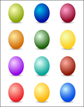 Easter Eggs Color Spectrum Background. Vector Illustration On White Background.