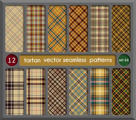 Set in Beige Tartan naadloze patroon achtergrond. Rood, zwart, groen, goud, blauw en wit geruite, Tartan Flanel Shirt patronen. Trendy tegels vectorillustratie voor achtergronden.