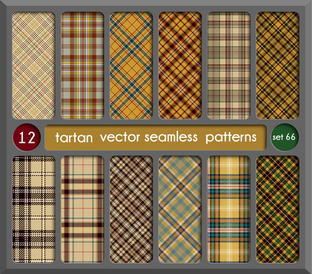 Set in Beige Tartan Seamless Pattern Background. Red, Black, Green, Gold, Blue  and  White Plaid, Tartan Flannel Shirt Patterns. Trendy Tiles Vector Illustration for Wallpapers.