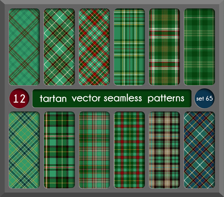 Set in Green Tartan Seamless Pattern Background. Red, Black, Green, Gold, Blue  and  White Plaid, Tartan Flannel Shirt Patterns. Trendy Tiles Vector Illustration for Wallpapers.