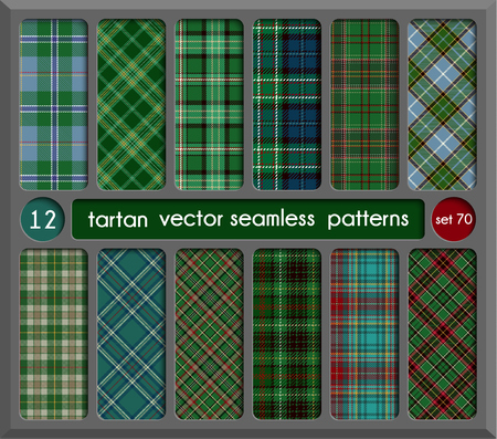 celtic: Set in Green Tartan Seamless Pattern Background. Red, Black, Green, Gold, Blue  and  White Plaid, Tartan Flannel Shirt Patterns. Trendy Tiles Vector Illustration for Wallpapers.