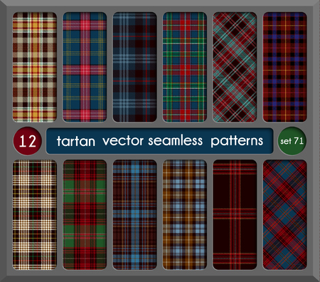 Set Tartan Seamless Pattern Background. Red, Black, Green, Brown, Gold, Blue  and  White Plaid, Tartan Flannel Shirt Patterns. Trendy Tiles Vector Illustration for Wallpapers.