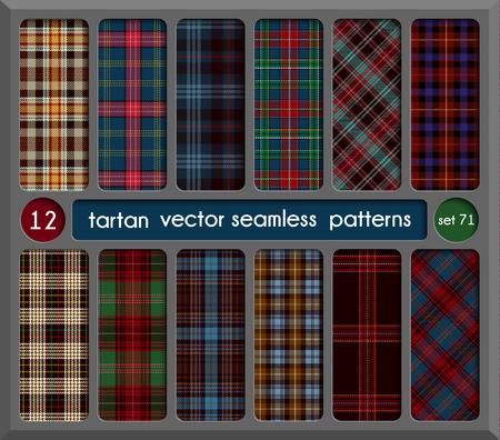Stellen Sie Tartan Seamless Pattern Hintergrund. Rot, schwarz, grün, braun, Gold, blau und weiß kariert, Tartan Flanellhemd Muster. Trendy Tiles-Vektor-Illustration für Hintergründe. Standard-Bild - 79299792