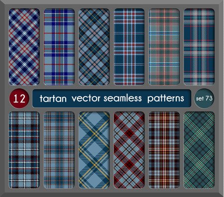 Set in Blue Tartan Seamless Pattern Background. Red, Black, Green, Gold, Blue  and  White Plaid, Tartan Flannel Shirt Patterns. Trendy Tiles Vector Illustration for Wallpapers.
