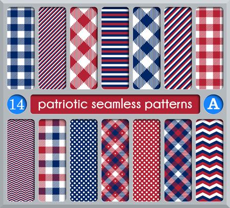 Ensemble patriotique de modèles sans couture blancs, bleus, rouges. Convient pour les élections ou le 4 juillet. Nuancier, vecteur de texture sans fin peut être utilisé pour le papier peint, fond, motifs de remplissage, page web, surface.