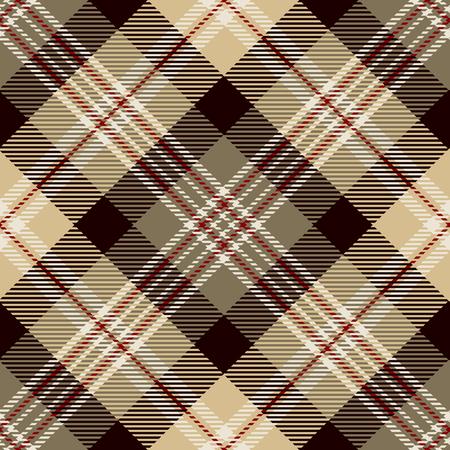 Tartan sans soudure de fond. Plaid rouge, brun, noir, beige et blanc, motifs de chemise en flanelle tartan. Tuiles à la mode Vector Illustration pour les fonds d'écran. Vecteurs