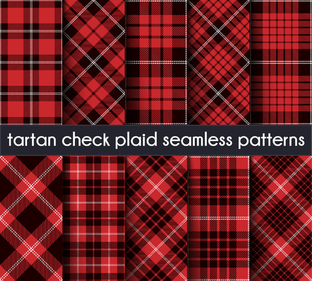 Set Tartan Check Plaid Seamless Pattern Background. Red, Black and  White  Plaid, Tartan Flannel Shirt Patterns. Trendy Tiles Vector Illustration for Wallpapers. Intersecting Bands From One To Five.