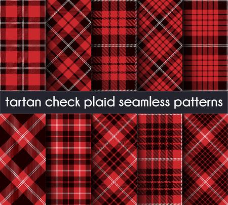 Tartan Check Plaid naadloze patroon achtergrond instellen. Rood, zwart en wit geruite, Tartan Flanel Shirt patronen. Trendy tegels vectorillustratie voor achtergronden. Snijdende banden van één tot vijf. Vector Illustratie
