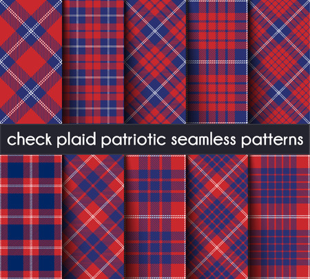 Set  Patriotic Check Plaid Seamless Pattern Background. Red, Blue  and  White  Plaid, Tartan Flannel Shirt Patterns. Trendy Tiles Vector Illustration for Wallpapers. Intersecting Bands From One To Five.