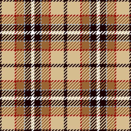 Fondo senza cuciture del modello del tartan. Rosso, nero, marrone, beige e bianco plaid, modelli di camicia in flanella scozzese. Illustrazione vettoriale di piastrelle alla moda per sfondi.