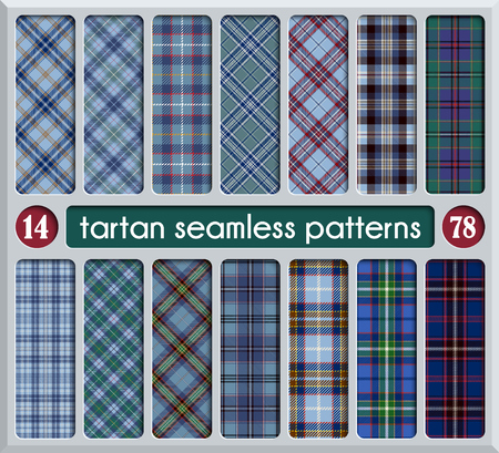 Set Tartan Seamless Pattern. Trendy Illustration for Wallpapers. Tartan Plaid Inspired Background. Suits for Decorative Paper, Fashion Design and House Interior Design, as Well as for Hand Crafts and DIY Illustration