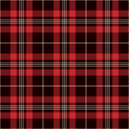 Tartan Seamless Pattern Background. Black, Red and  White  Plaid, Tartan Flannel Shirt Patterns. Trendy Tiles Vector Illustration for Wallpapers.