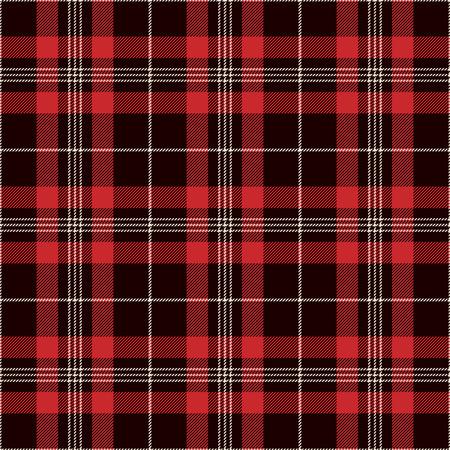 Tartán De Fondo Sin Patrón. Tela escocesa negra, roja y blanca, patrones de la camisa de franela de tartán. Azulejos de moda ilustración vectorial para fondos de pantalla.