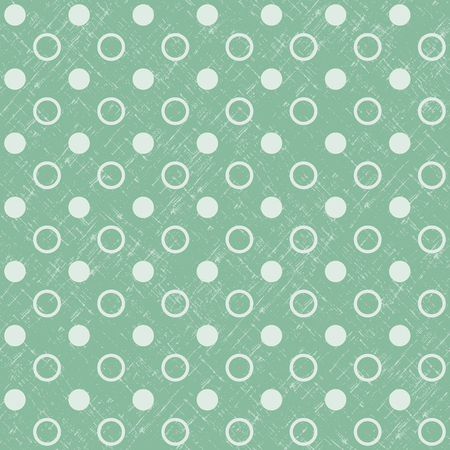 Abstract Geometric Retro Seamless Polka Dot  Green  Background. Vector Illustration