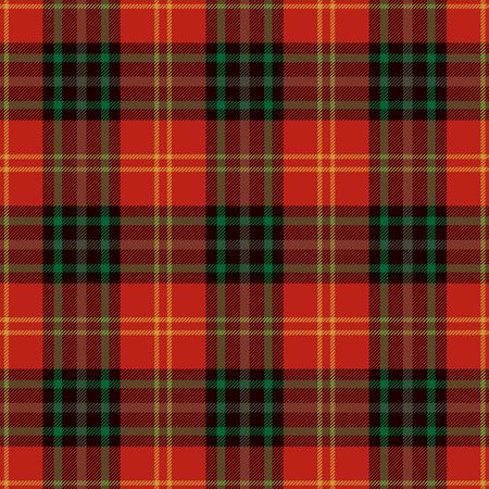 Fondo senza cuciture del modello del tartan. Plaid rosso, nero, verde e oro, modelli di camicia in flanella scozzese. Illustrazione vettoriale di piastrelle alla moda per sfondi.