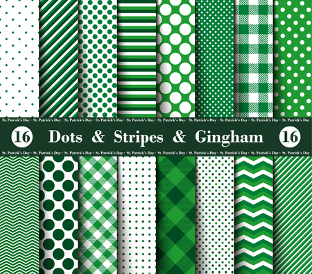 Happy  St. Patricks Day! Set of Sixteen Seamless Polka Dots, Gingham, With Large and Small Lines and Diagonal Stripes with Green and White Colors. Flannel Shirt Patterns. Vector Illustration for Wallpapers. Illustration