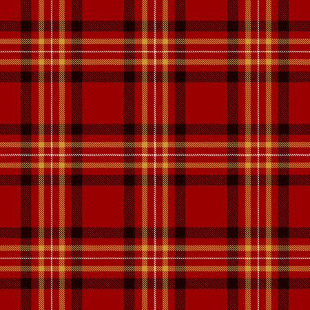 Tartan Seamless Pattern Background. Red, Black, Gold  and  White  Color  Plaid.  Flannel Shirt Patterns. Trendy Tiles Vector Illustration for Wallpapers. Illustration