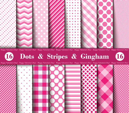 Happy Valentine's Day! Set of Sixteen Seamless Polka Dots, Gingham, With Large and Small Lines and Diagonal Stripes with  Red, Pink and White Colors. Female  Flannel Shirt Patterns. Vector Illustration for Wallpapers. 向量圖像