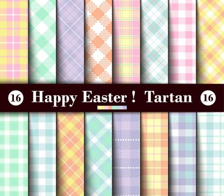 Sechzehn Satz von Ostern Tartan Seamless Patterns. Sammlung Plaid mit den gelben, blauen, grünen, rosa, roten, lila, purpurroten und weißen Pastellfarben. Modische Fliesen-Vektor-Illustration für Tapeten.