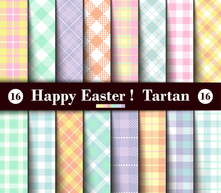 Sixteen Set of Easter Tartan Seamless Patterns. Collection of Plaid with Yellow, Blue, Green, Pink, Red, Lilac, Purple and White Pastel Colors. Trendy Tiles Vector Illustration for Wallpapers. Vettoriali