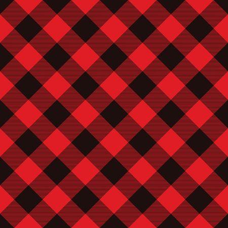 Classic Lumberjack Plaid Pattern in Red and Black. Template for Clothing Fabrics. Seamless Vector Pattern.