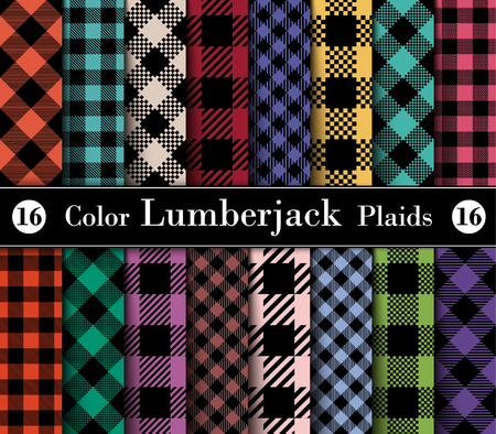 Set Lumberjack Plaid Pattern in Different Colors. Template for Clothing Fabrics. Seamless Vector Pattern. Trendy Colors Palettes of 2004 - 2018 Season.
