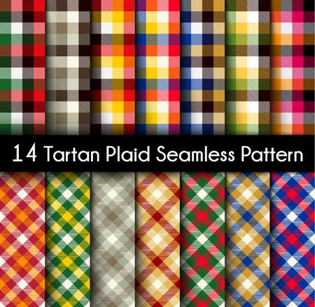 Set Tartan Seamless Pattern. Seamless Tartan Tiles. Trendy Colors Vector Illustration for Wallpapers.  Illustration
