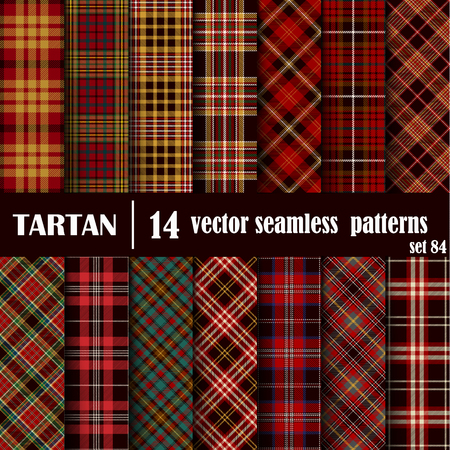 Set Tartan Seamless Pattern. Trendy Illustration for Wallpapers. Tartan Plaid Inspired Background. Suits for Decorative Paper, Fashion Design and House Interior Design