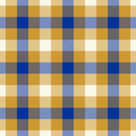 Tartan Seamless Pattern Background. Blue, Gold and White Color Plaid. Flannel Shirt Patterns. Trendy Tiles Vector Illustration for Wallpapers.