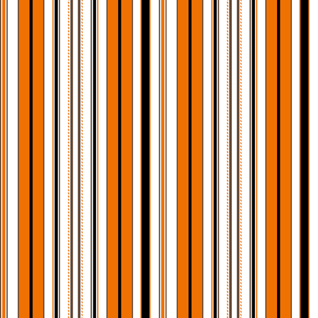 Halloween Stripe Seamless Vector Pattern. With Orange, Brown, Black and White Vertical Parallel Stripes. Illustration Abstract Background Ilustração
