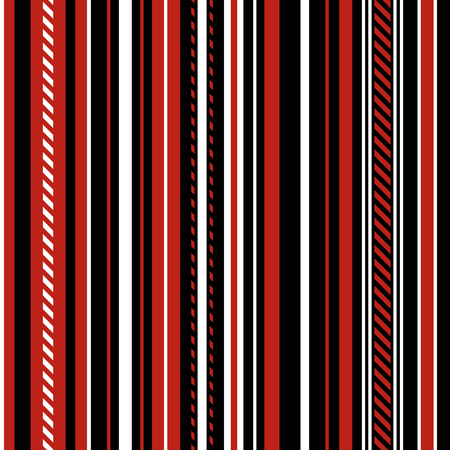 Stripe Seamless Vector Pattern. With Red, Black and White Vertical Parallel Stripes. Illustration Abstract Background