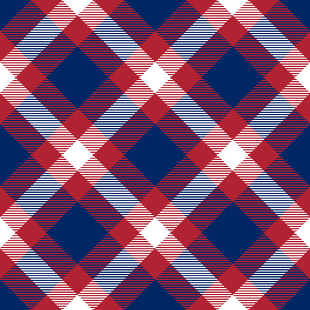 Patriotic Tartan  of White , Blue, Red Seamless Patterns. Suitable for Elections or 4th of July. Vector Endless Texture Can Be Used for Wallpaper, Background, Pattern Fills, Web Page, Surface.